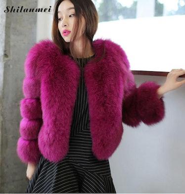 Women Luxury Faux Fox Fur Coat