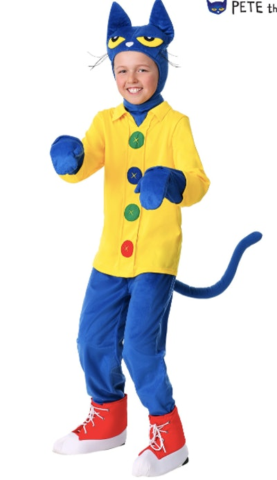 Boy wearing Pete the Cat costume