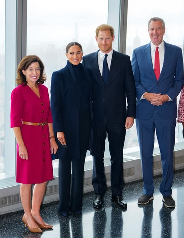 Governor Kathy Hochul, Prince Harry, Duke of Sussex, Meghan, Duchess of Sussex and Mayor Bill DiBla...