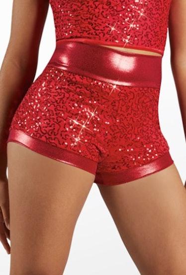 high-waist red sequin shorts