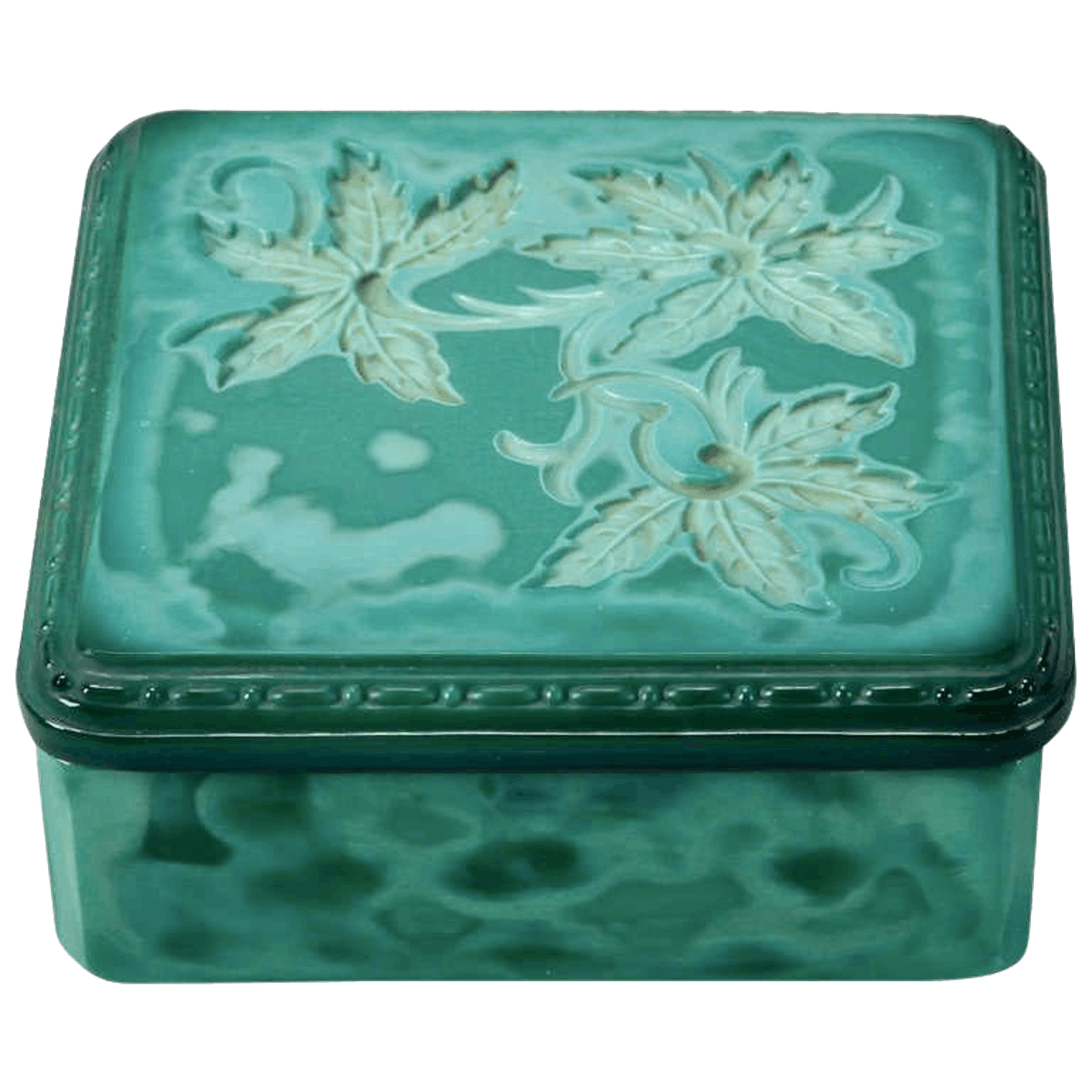 Art Deco Bohemian Czech Square Malachite Glass Box
