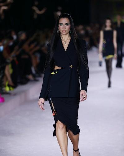 Dua Lipa walks the runway at the Versace fashion show during the Milan Fashion Week - Spring / Summe...