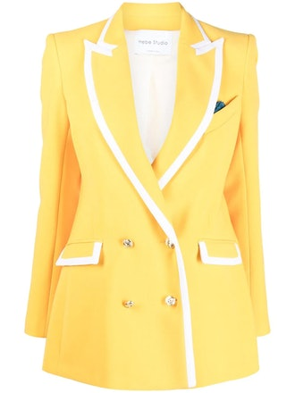 Hebe Studio's yellow and white contrast-trim blazer.