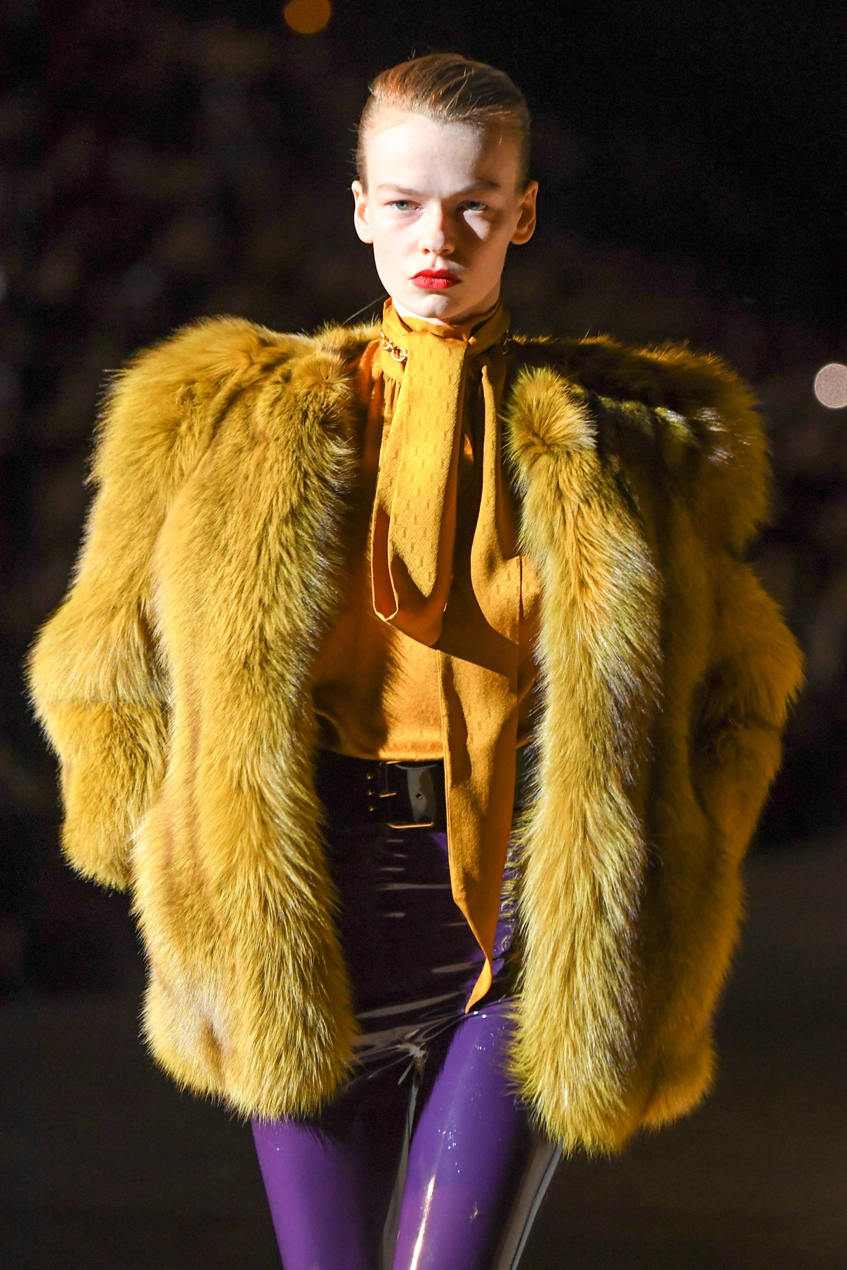 model walks the runway during the Saint Laurent show as part of the Paris Fashion Week Womenswear F...