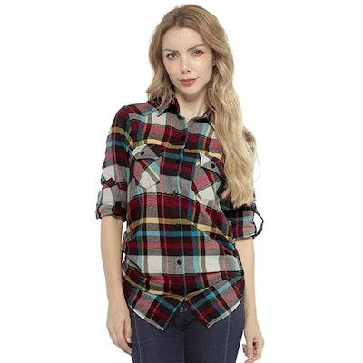 Match Long Sleeve Flannel Plaid Shirt