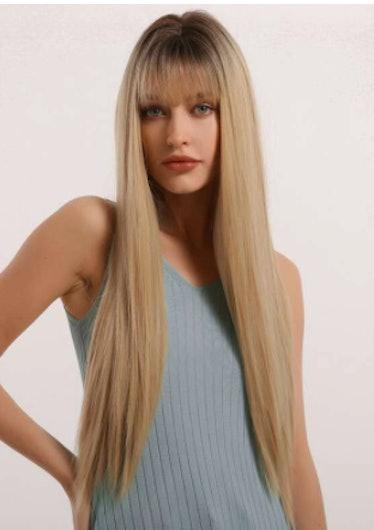1pc Straight Long Hair Wig With Bang