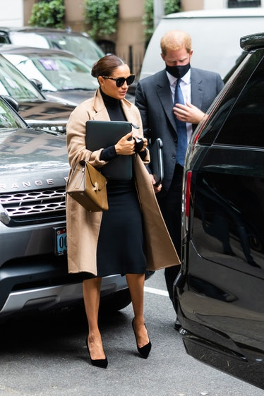 Meghan Markle, Duchess of Sussex, and Prince Harry, Duke of Sussex, are seen in Midtown on September...