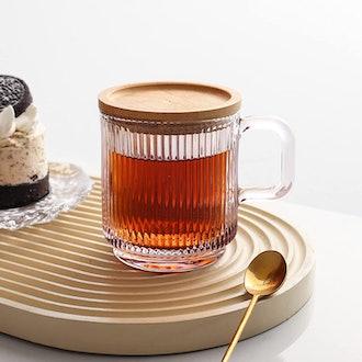 Lysenn Glass Coffee Mug with Lid