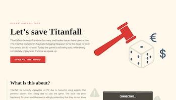 The homepage of SaveTitanfall.com