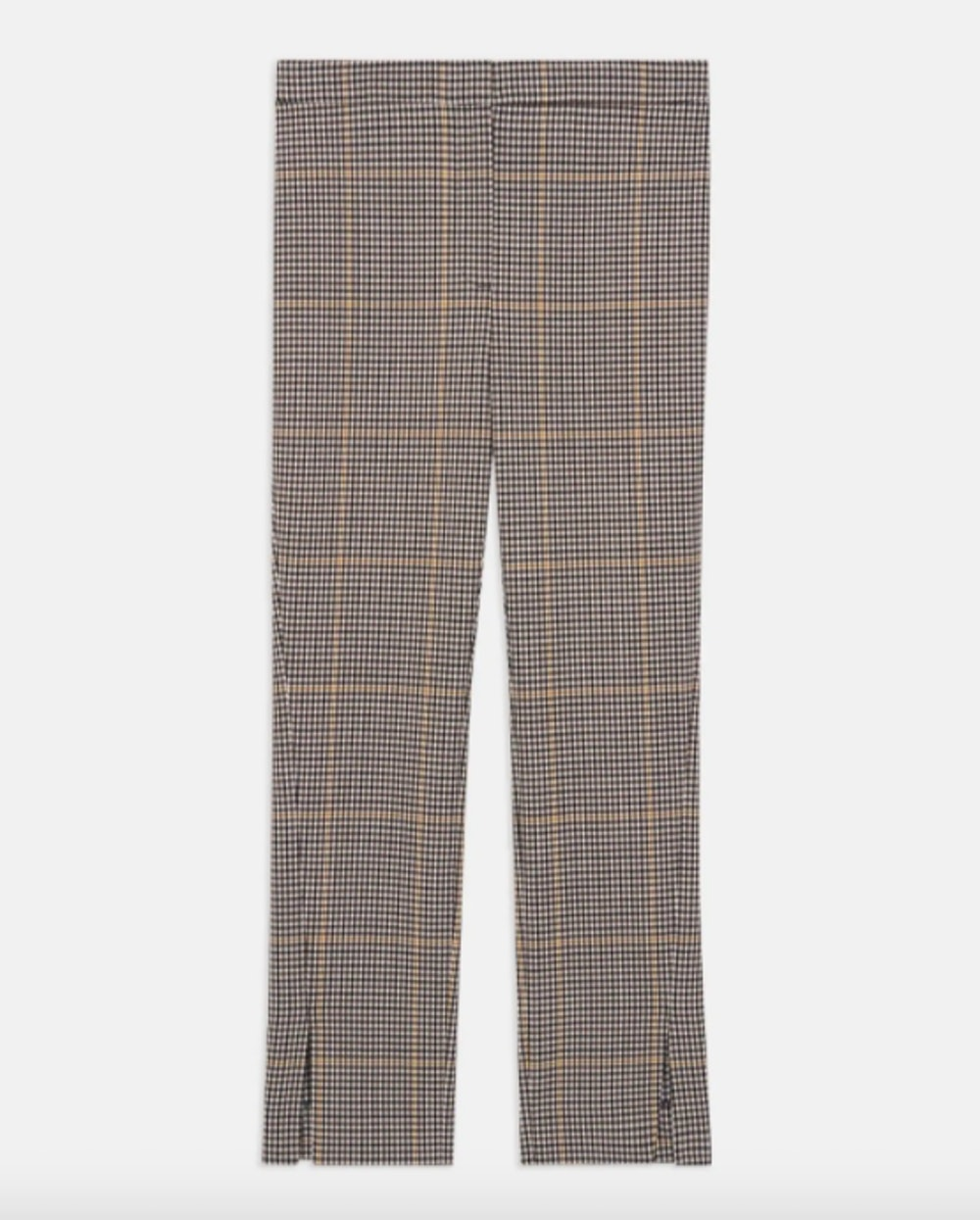 Straight Slit Pant in Plaid Wool