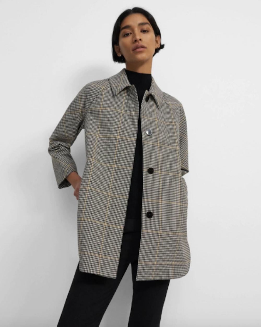 Car Coat in Plaid Wool