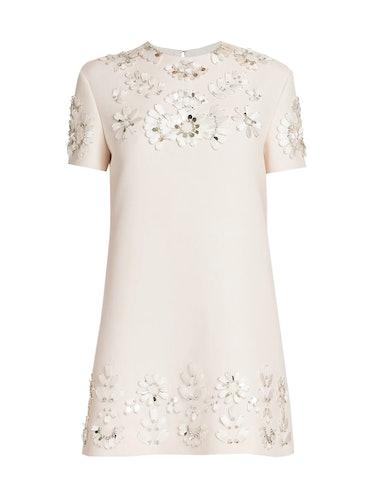 Floral-Embellished Mini Shift Dress