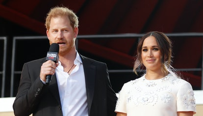 Prince Harry, Duke of Sussex and Meghan, Duchess of Sussex speak onstage during Global Citizen Live,...