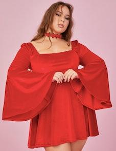 Sugar Thrillz Ruby Quick Strike A Pose Bell Sleeve Dress