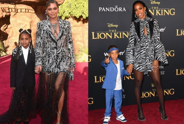 Beyonce and Kelly Rowland, with their kids, Blue Ivy and Titan Jewell,  arrive for the world premier...