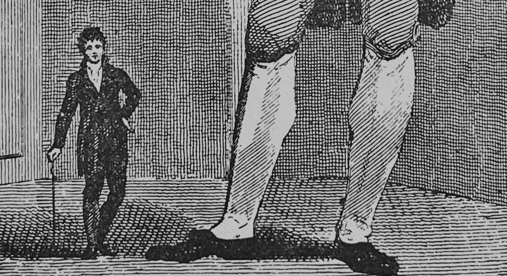 tall man and really short man illustration
