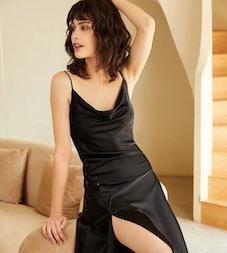 Isabel Black Slip Midi Dress