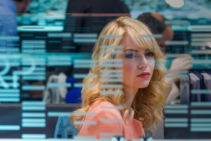 A still from 'The Amazing Spider-Man 2,' with Emma Stone as Gwen Stacy behind a glass wall of inform...