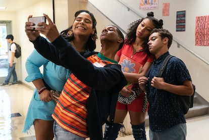"""""""On My Block"""" characters (L-R) Jasmine, Jamal, Monse and Ruby take a group selfie."""