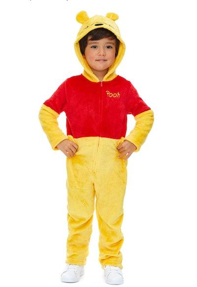 Little boy posing in Winnie the Pooh costume