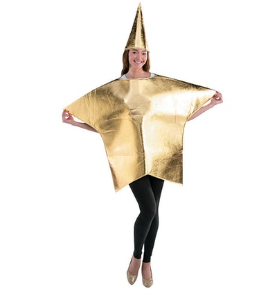 Adult wearing a gold star costume