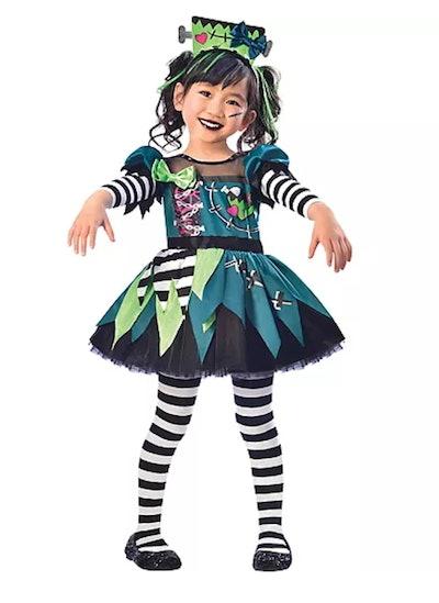 Little girl dressed as Frankenstein