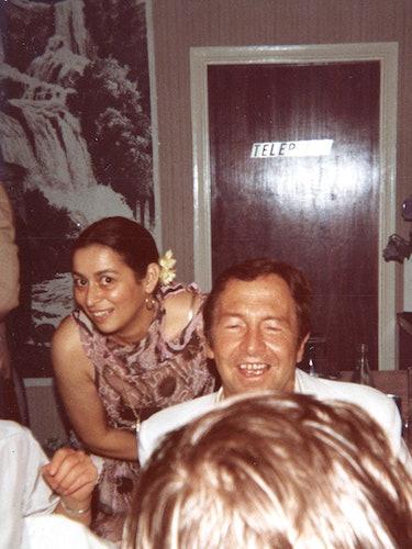 Quinn with Robert Rauschenberg, 1978.