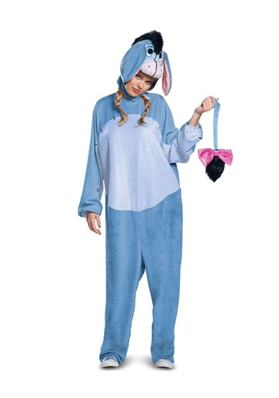 Adult woman dressed in Eeyore onesie