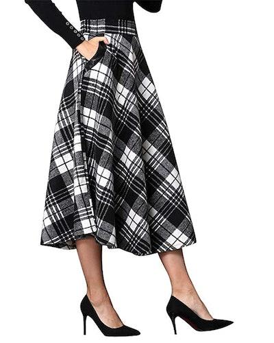 IDEALSANXUN High Waist Plaid Maxi Skirt