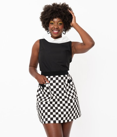 Black and white checkered mini skirt from unique vintage