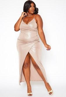 Asoph Plus Size Champagne Shimmer Split Hem Maxi Dress