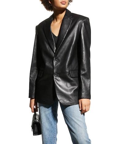 Felina Oversized Boyfriend Leather Blazer
