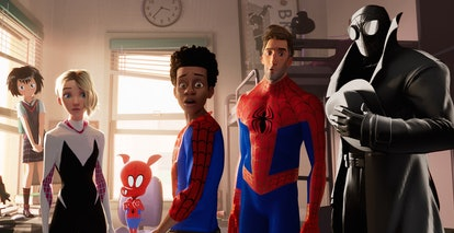A still from 'Spider-Man: Into the Spider-Verse' with the multitude of Spider-People from different ...