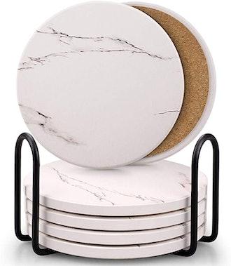 Comsmart Ceramic Stone Coaster Set (6-Pack)