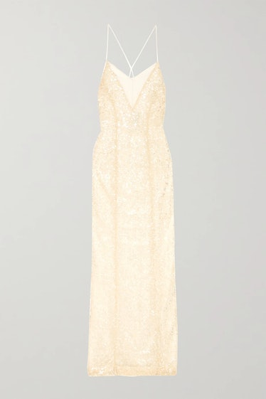 Hollywood Paillette-Embellished Metallic Tulle Gown  Galvan