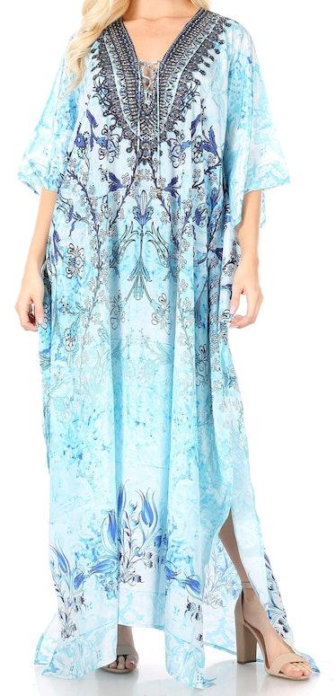 Rachel on 'The White Lotus' wears a light blue caftan.