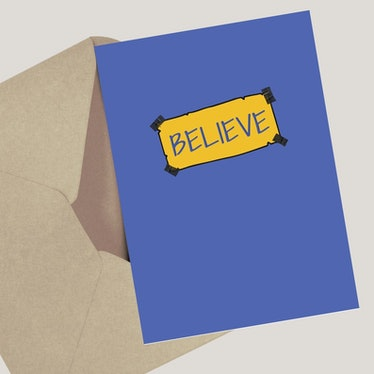 """This """"believe"""" card is one of the 'Ted Lasso' birthday cards on Etsy that would make a great gift."""