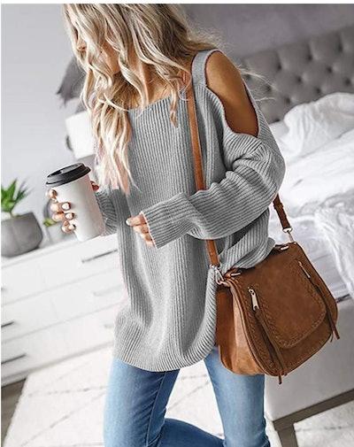 MaQiYa Cold Shoulder Knit Sweater