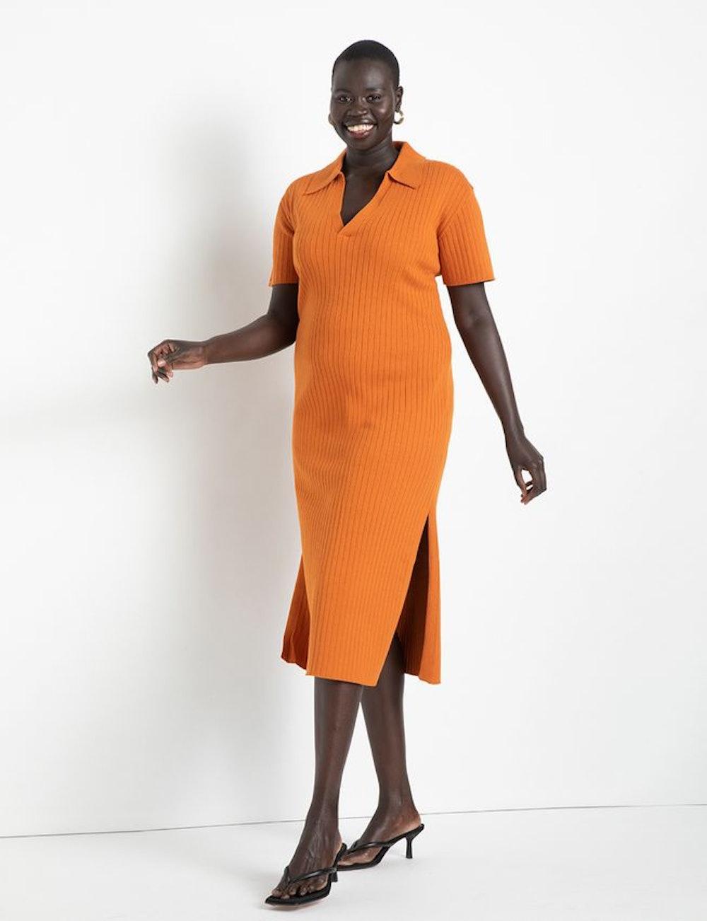 Rib Collar Sweater Dress