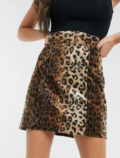 mini skirt in leopard print from asos
