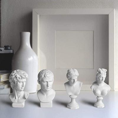 "Garwor  Mini 2.7"" Greek Bust Resin Sculptures (4-Pack)"