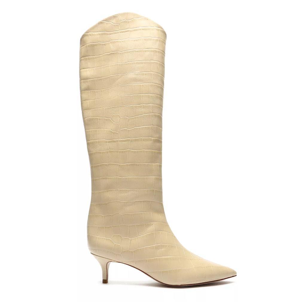 Maryana Lo Crocodile-Embossed Leather Boots