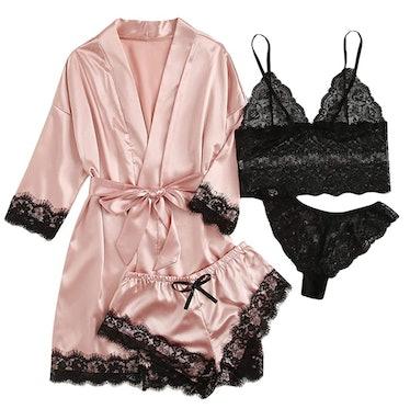 WDIRARA Women's 4 Pieces Satin Floral Lace Cami Top Lingerie Pajama Set with Robe