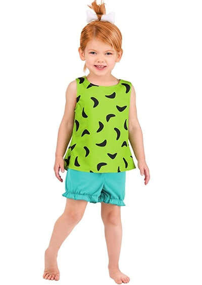 Little girl dressed as Pebbles from The Flintstones
