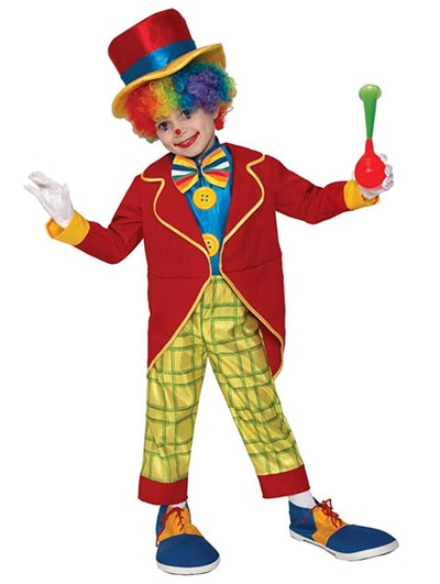 Young boy dressed as clown