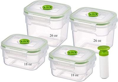 Lasting Freshness Vacuum Seal Food Storage Container Set (9 Pieces)