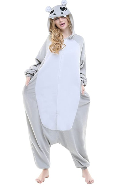 Adult woman in Hippo onesie