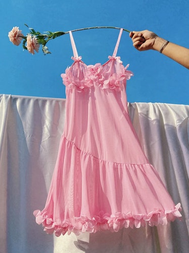Appliques Detail Sheer Mesh Night Dress