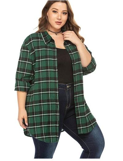 IN'VOLAND Flannel Button Down Shirt
