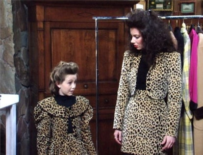 Fran and Gracie in matching leopard outfits, the Nanny